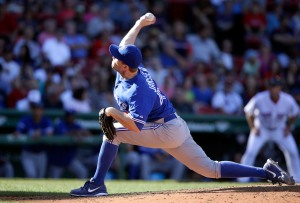 Toronto Blue Jays relief pitcher Casey Janssen delvers a pitch against the Boston Red Sox in the ninth inning of a baseball game, Sunday, Sept. 7, 2014, in Boston. The Blue Jays won 3-1. (AP Photo/Steven Senne